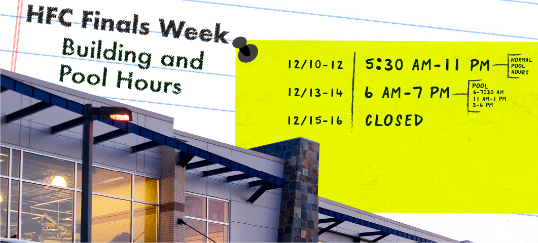 We will have special hours for the building and pool during finals week.  Please call 406994500 for information.