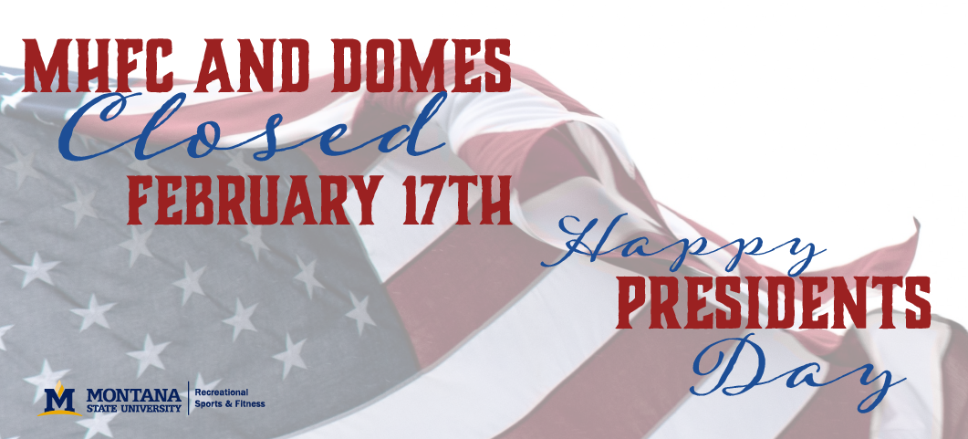 The HFC and Domes will be closed February 17, 2020 for President's Day.