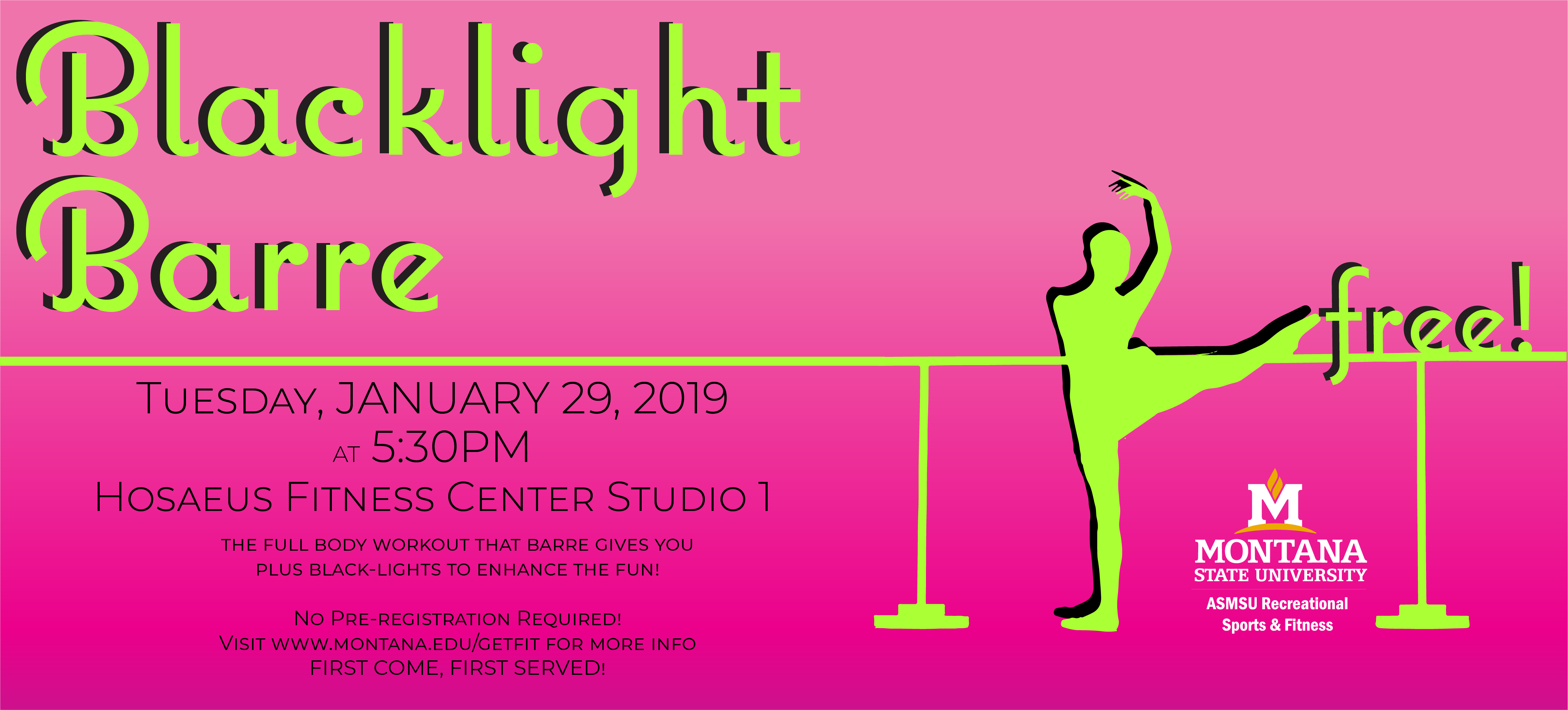 January 29, 2019 at 5:30 p.m. at the Hosaeus Fitness Center.  Free with no pre-registration required.