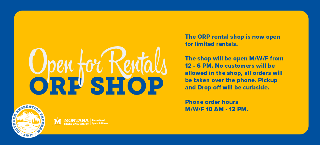 Beginning Monday June 8, 2020 the ORP rental shop will be open for limited rentals.  The shop will be open M/W/F from 12-6 p.m.  No customers will be allowed in the shop, all orders will be taken over the phone.  Pick-up and Drop-off will be curbside.  Phone order hours M/W/F 10 a.m. - noon.