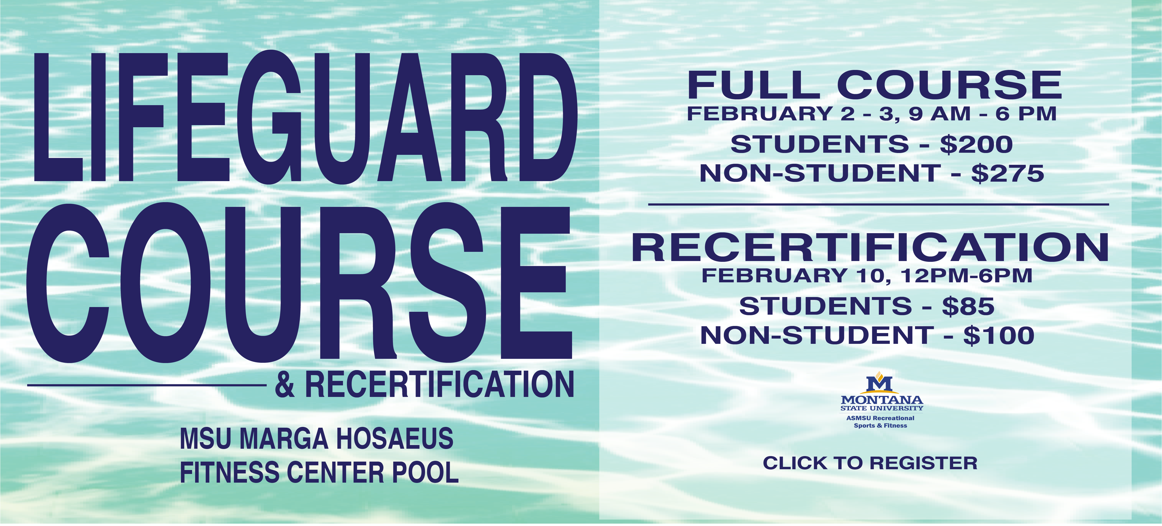 American Red Cross Lifeguard Certification and Recertification courses will be offered at the Hosaeus Fitness Center.  Full course, Feb. 2-3, 9 am - 6 pm. Recertification, Feb. 10, 2019, 12-6 pm.  Please call for price and to pre-register.  406-994-5000.