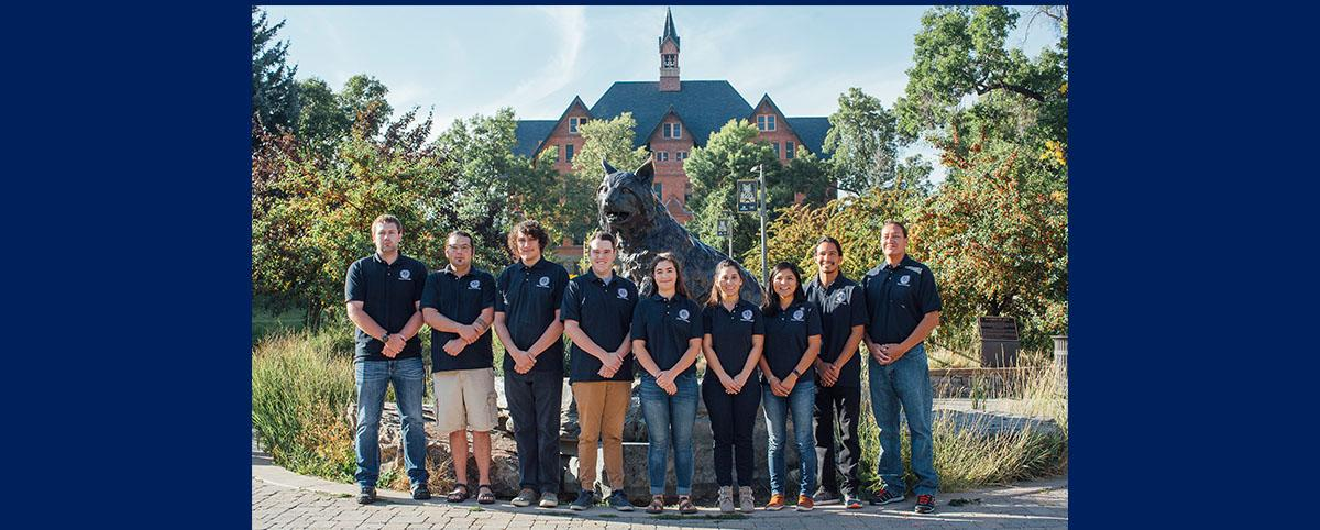 SIGP Scholars outside Montana Hall with Bobcat