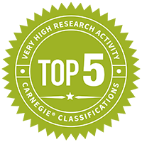 Top 5 - very high research activity according to Carnegie - medallion