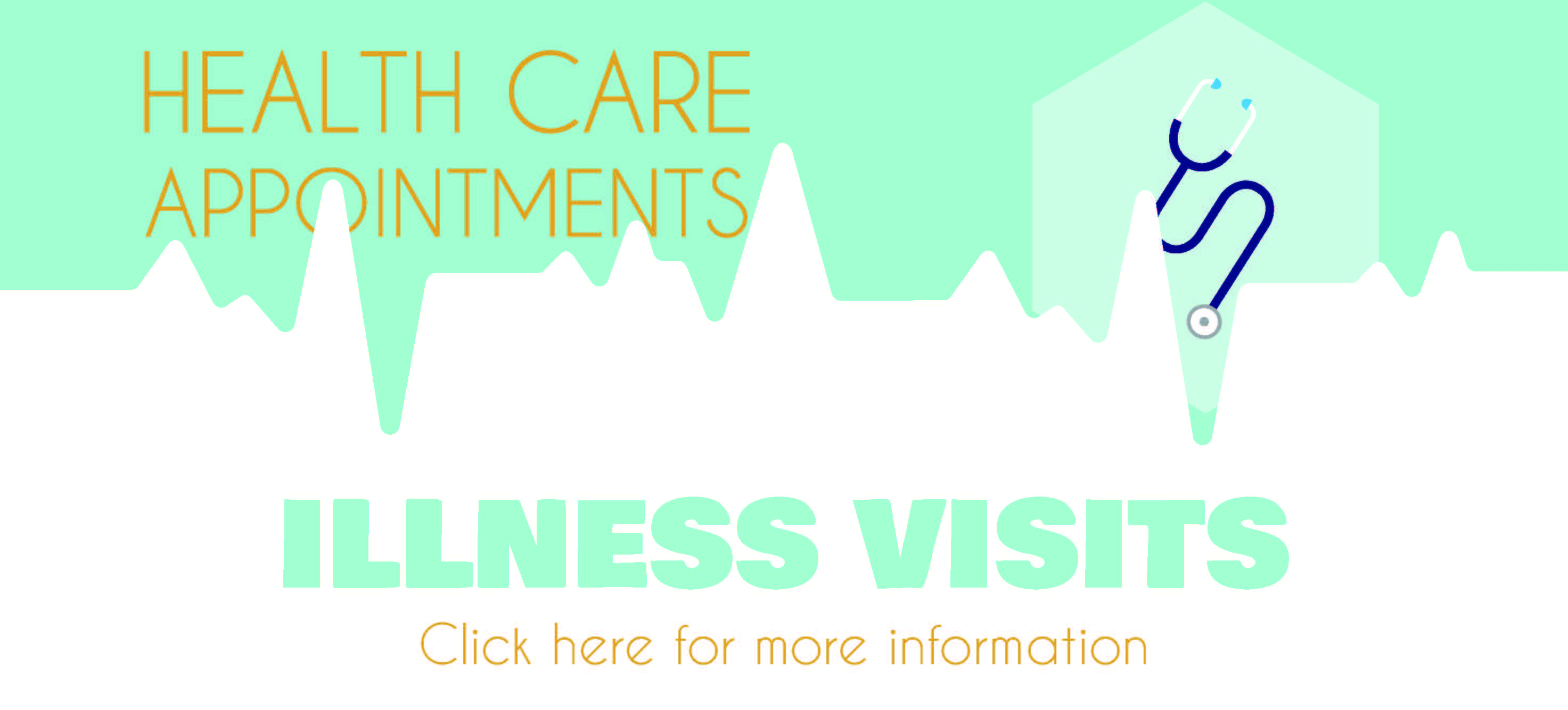 Illness Visits banner with stethoscope