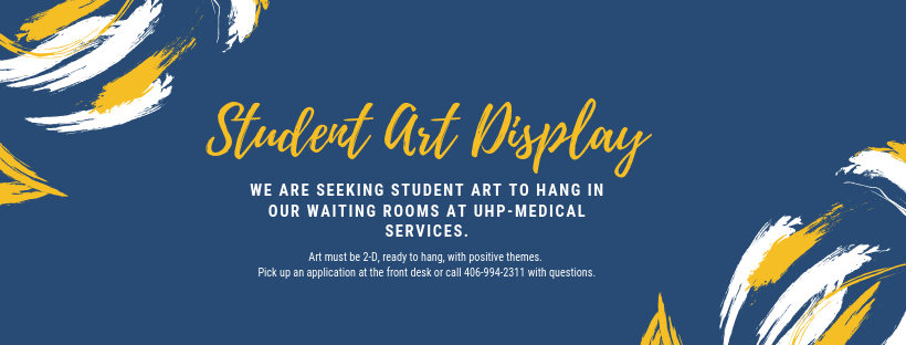 Seeking student artwork to hang in the UHP-Medical Services waiting room. Contact the front desk with questions.