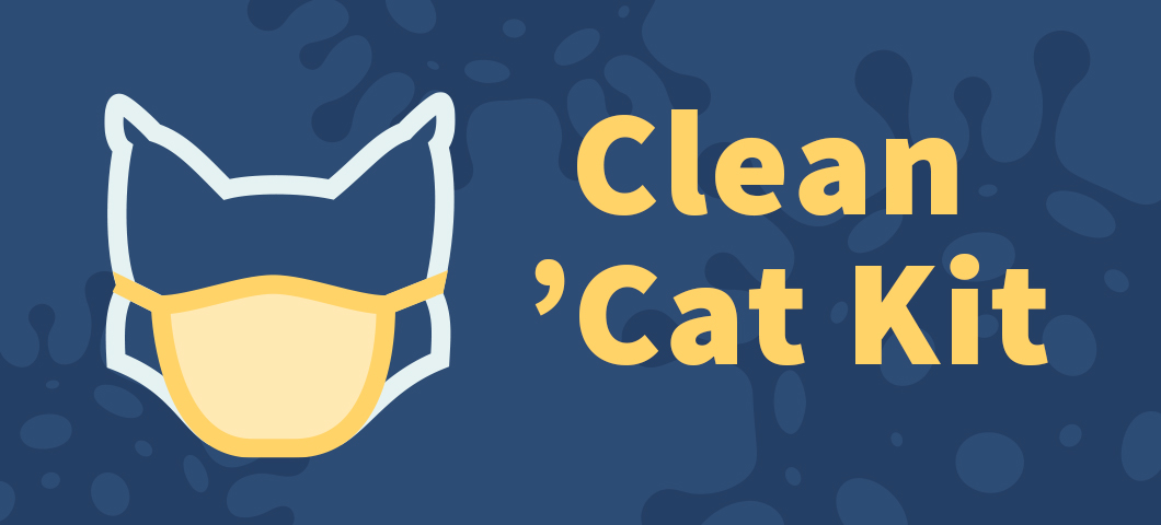 Cartoon graphic of a bobcat outline wearing a face mask next to the words Clean Cat Kit