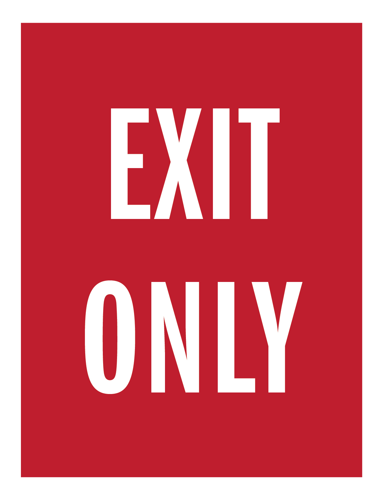 red exit only letter-size sign
