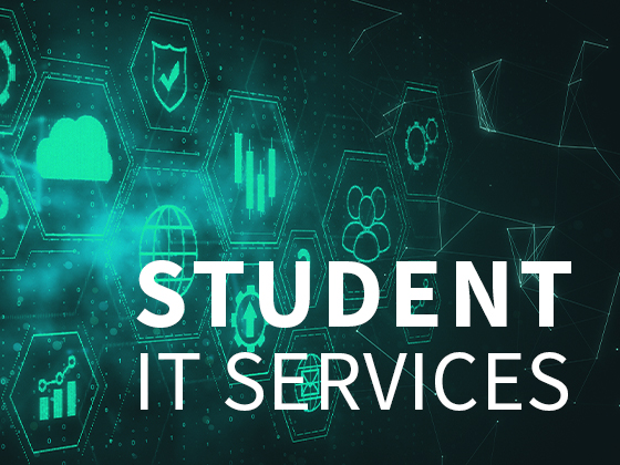 Student IT services graphic, text on colored background