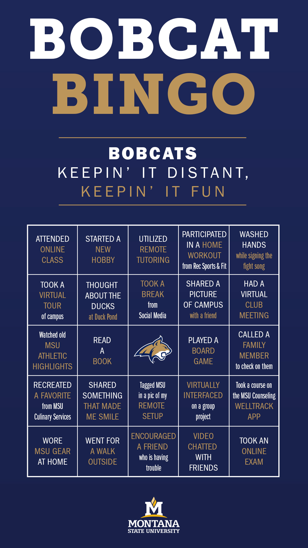 Bobcat Bingo board for activites related to quarantine, remote classwork and social distancing.