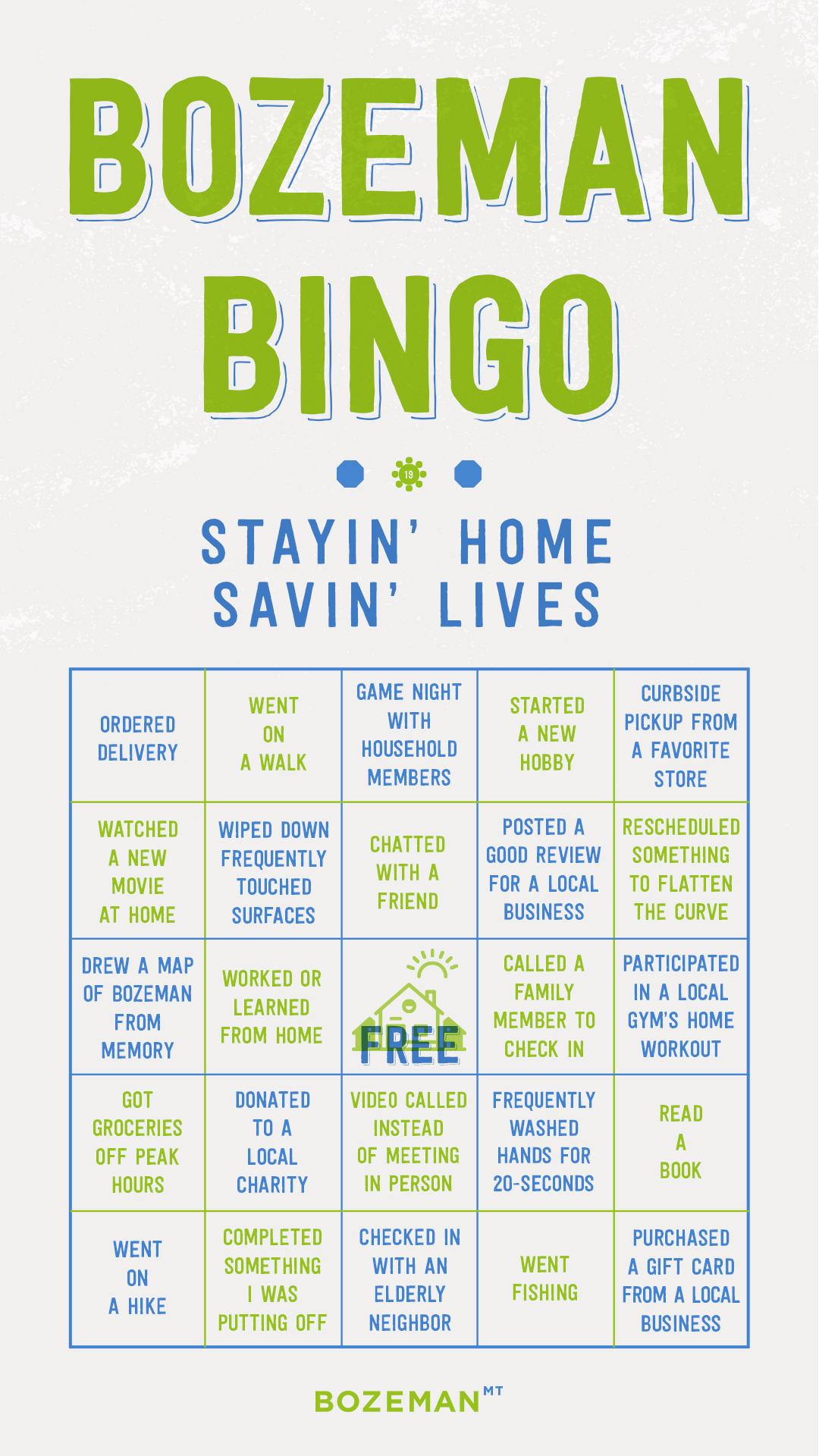 City of Bozeman bingo card with COVID social distancing activities.