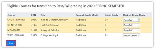 Screenshot of screen with options for selecting pass/fail grading option in MyInfo