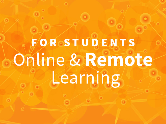 Online and remote learning graphic, text on colored background