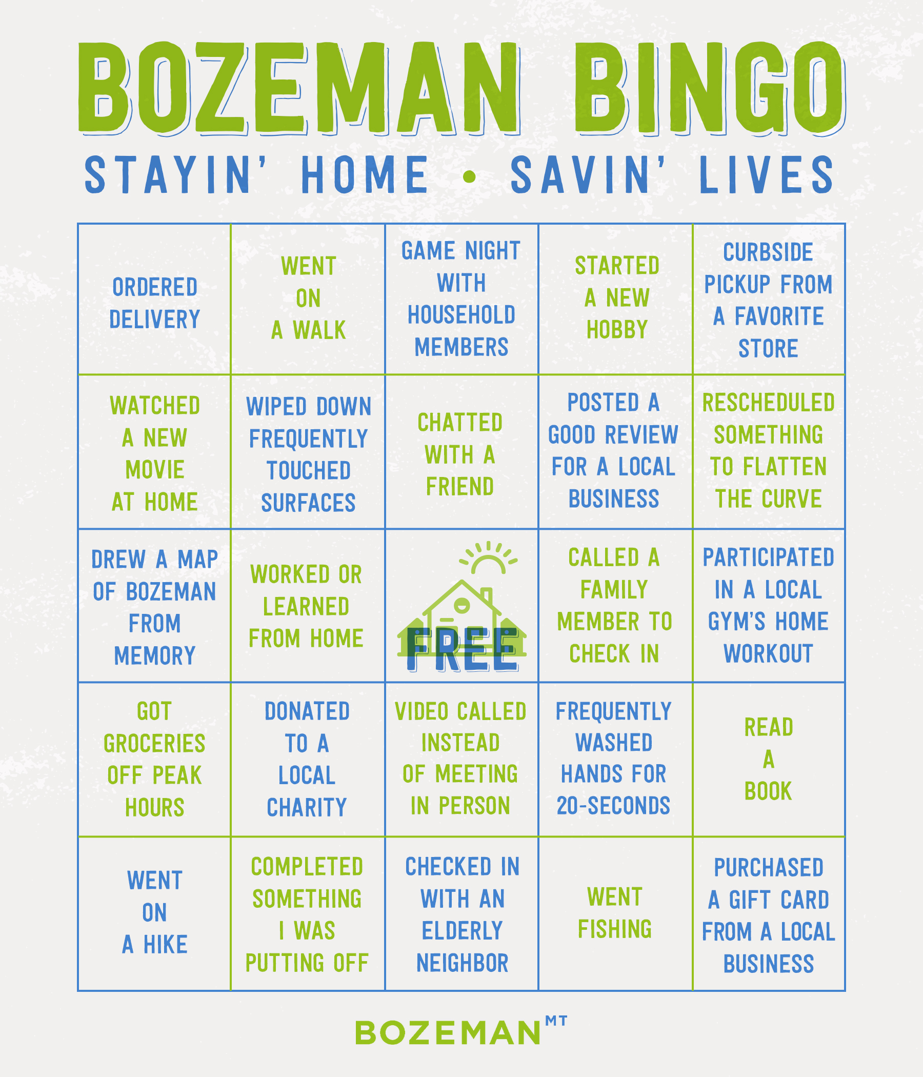 Bozeman bingo card with COVID and social distancing activities.