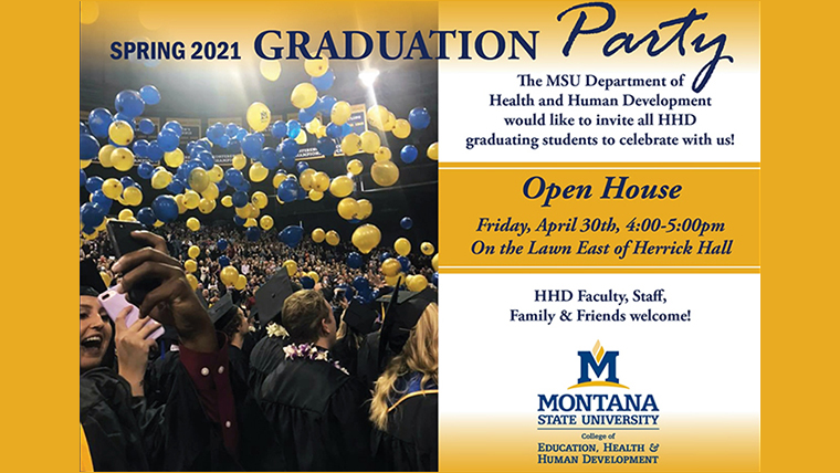 Spring 2021 graduation open house Friday, April 30, 4-5 PM