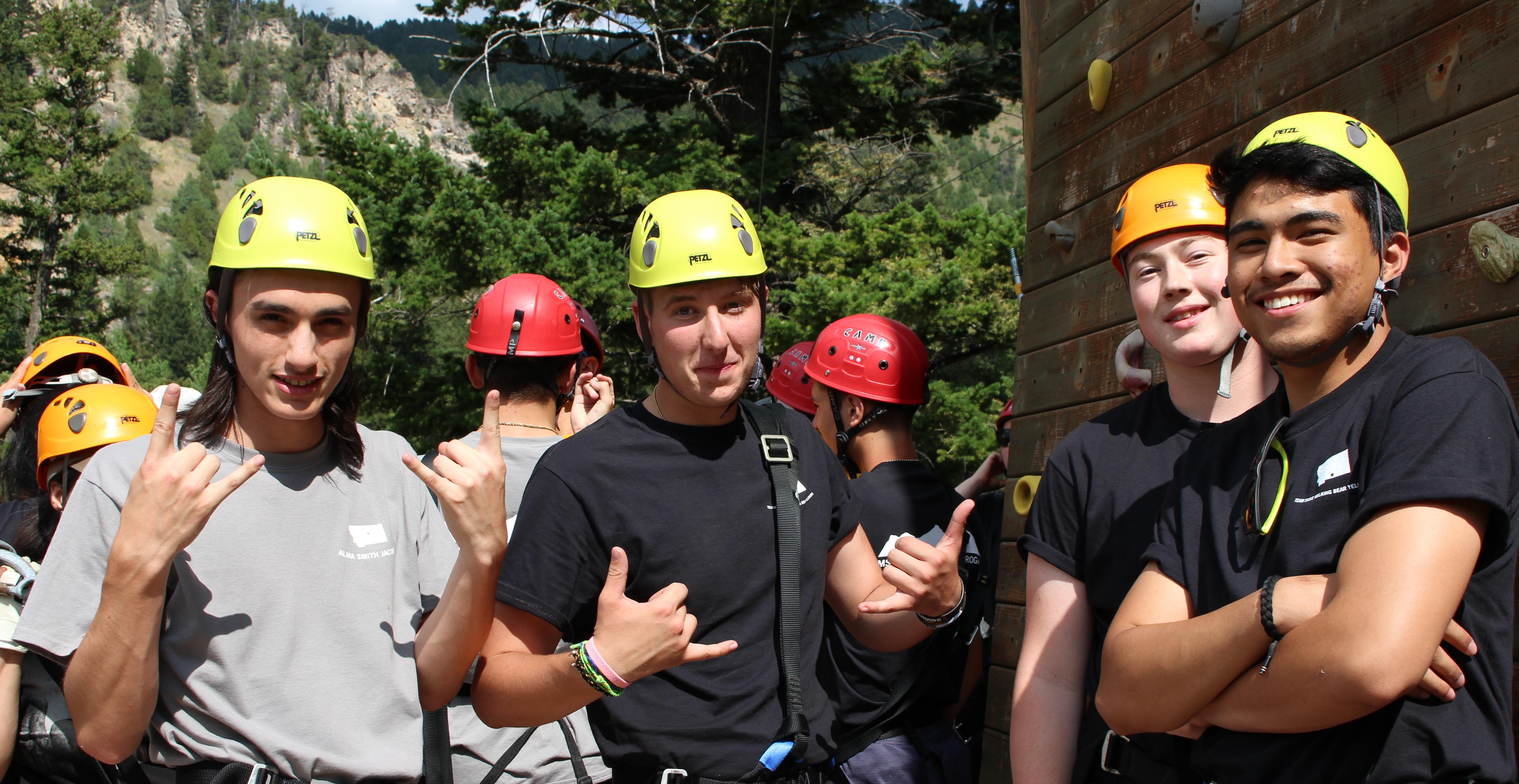 MSU Hilleman Scholars prepare for the ropes course at Rockhaven Summer Camp