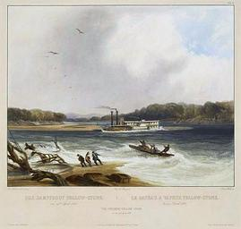 painting of a nineteenth-century steamboat running aground in the Missouri River