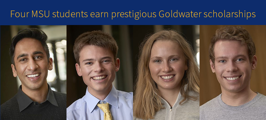 2021 Goldwater Scholars Pushya Krishna, Elliott Pryor, Laina Hall, and Matthew Thompson