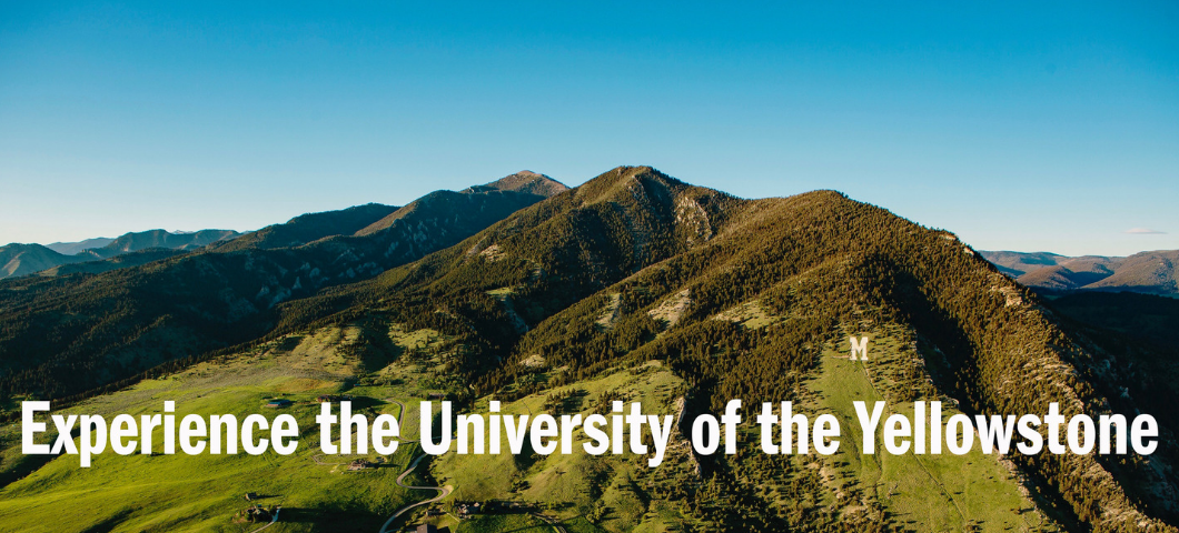 "Aerial shot of the Bridger Mountains, with the words ""Experience the University of the Yellowstone"""