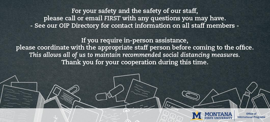 Please email or call before coming to the office in person.