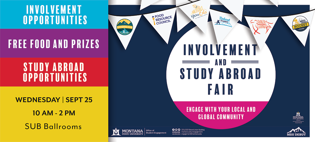 The Fall 2019 Involvement and Study Abroad Fair will be held September, 25th.