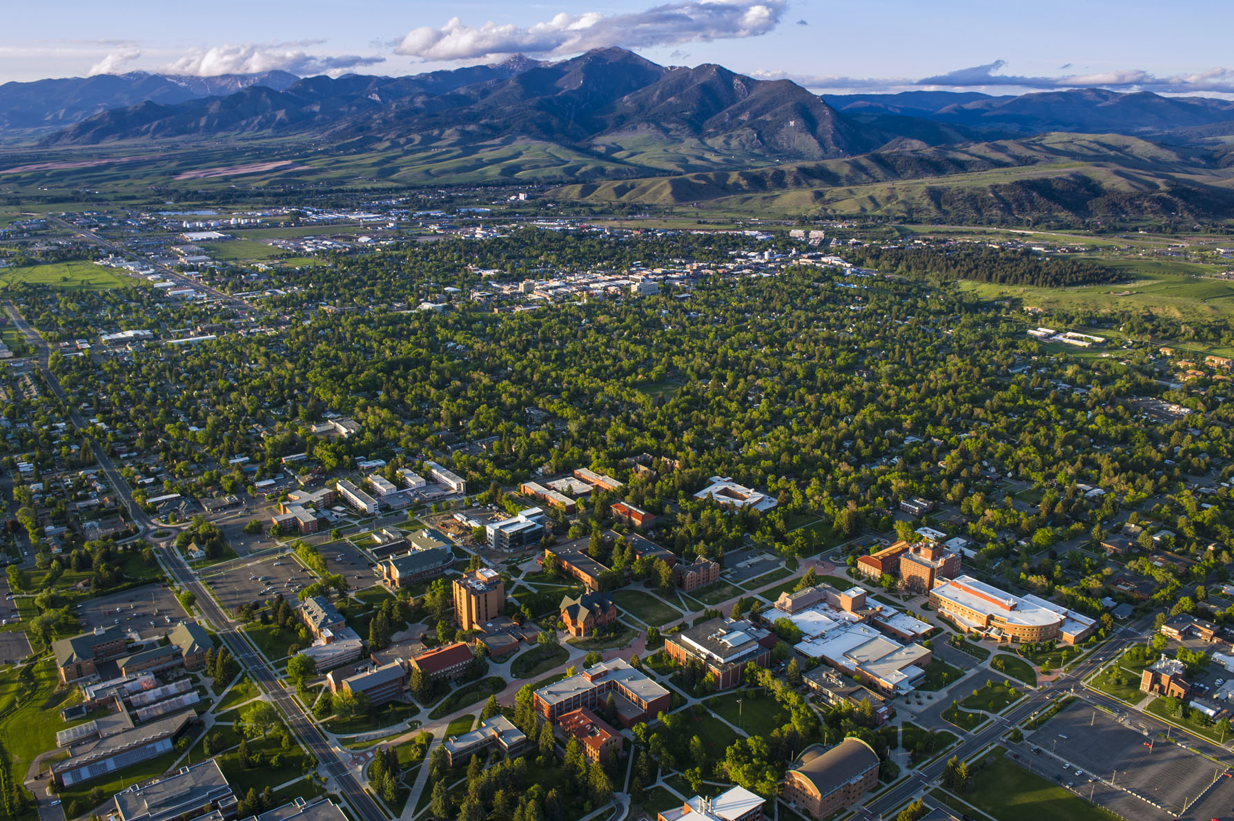 An areal view of Bozeman Montana