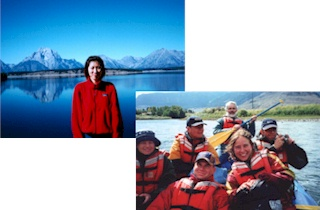 women at lake, top left. family on rafting trip, bottom right.