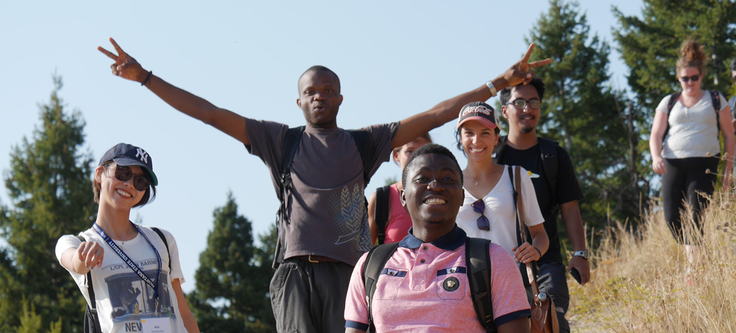 "International students hike the ""M"" in Bozeman during Fall Orientation"