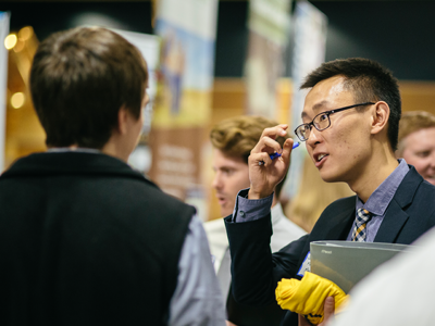 An international student at the bi-annual career fair.