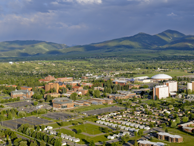 arial view of Bozeman looking to the south