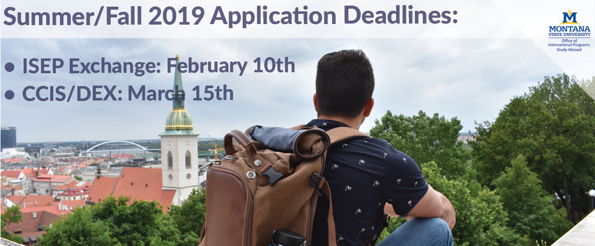 Application deadlines for Summer and Fall 2019