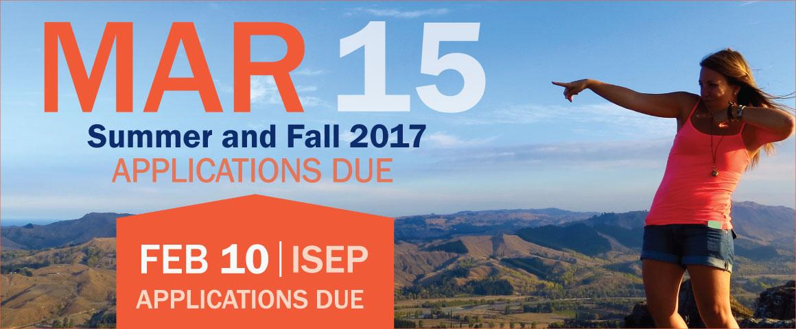 Study abroad applications for summer and fall 2017 programs are due March 15, with ISEP exchange programs due February 10.