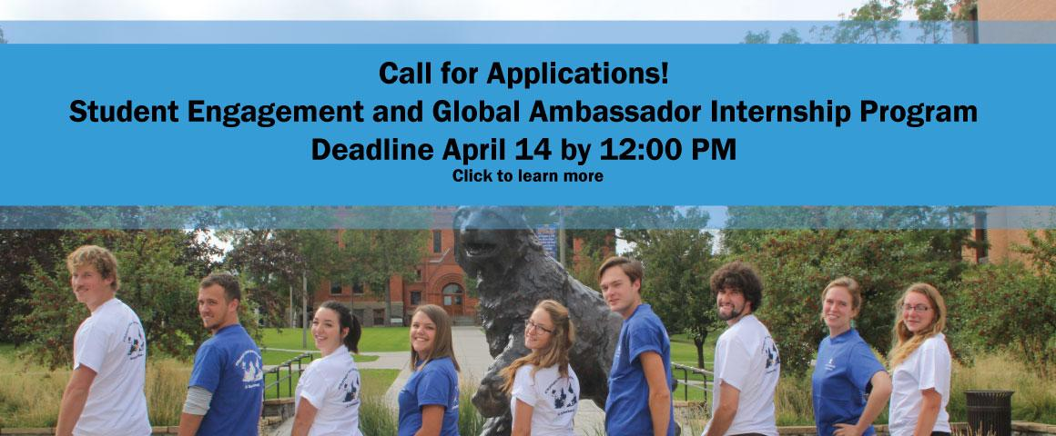 Student Engagement Global Ambassador Fall 2017 applications due April 14th by 12:00 PM. Click for more information and to apply.