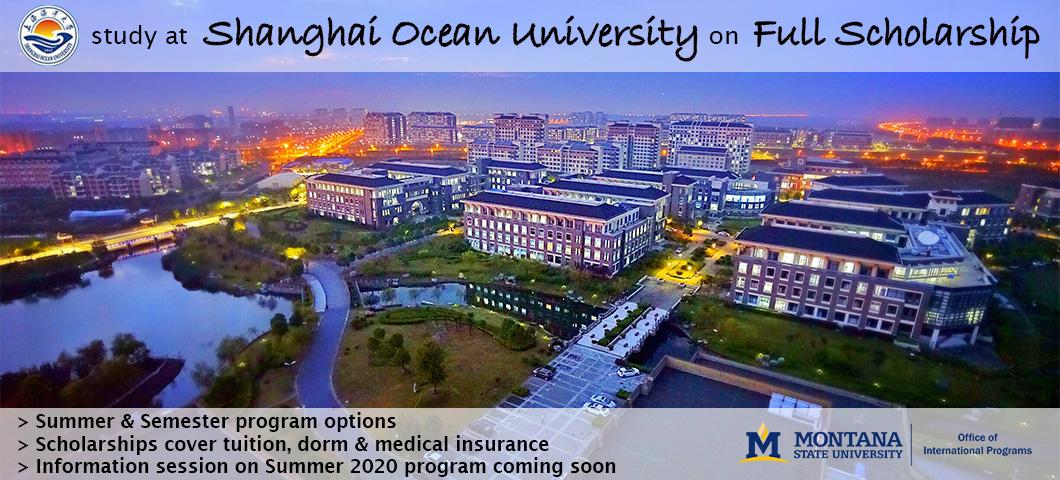 Students can study at Shanghai Ocean University during the Summer 2020 term on full scholarship from the Chinese Scholarship Council or apply for the Presidential Scholarship to study during the 2020-2021 academic year.