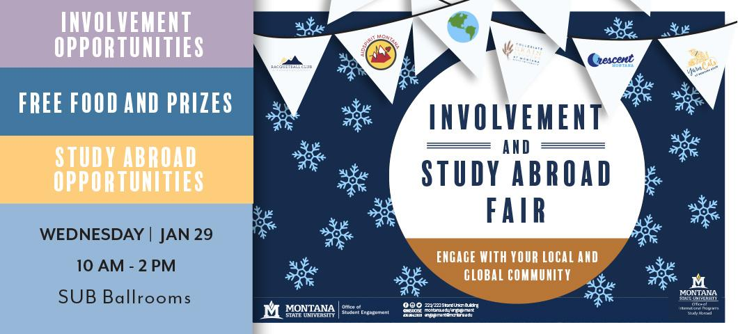 Join us at the Spring Involvement and Study Abroad Fair on January 29!