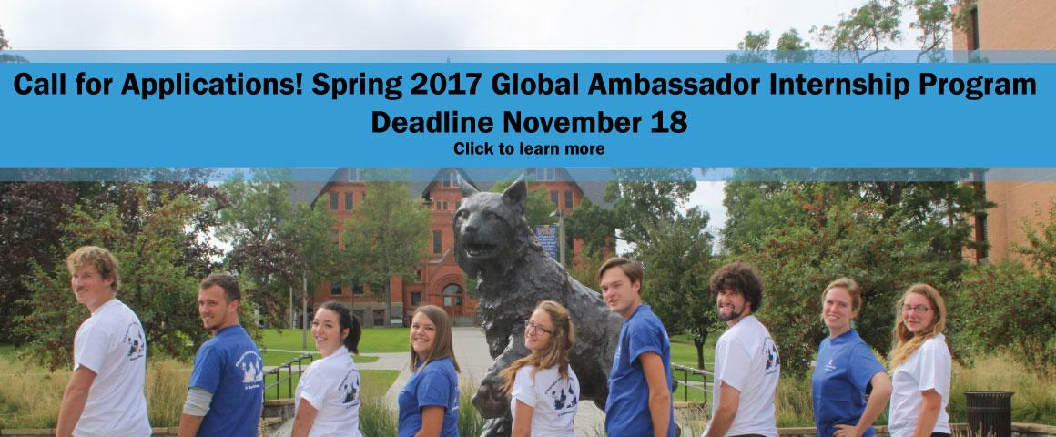 Engage with the study abroad office and enhance your global competencies gained through your international experience by applying to the Spring 2017 Global Ambassador Internship program. Click to learn more.