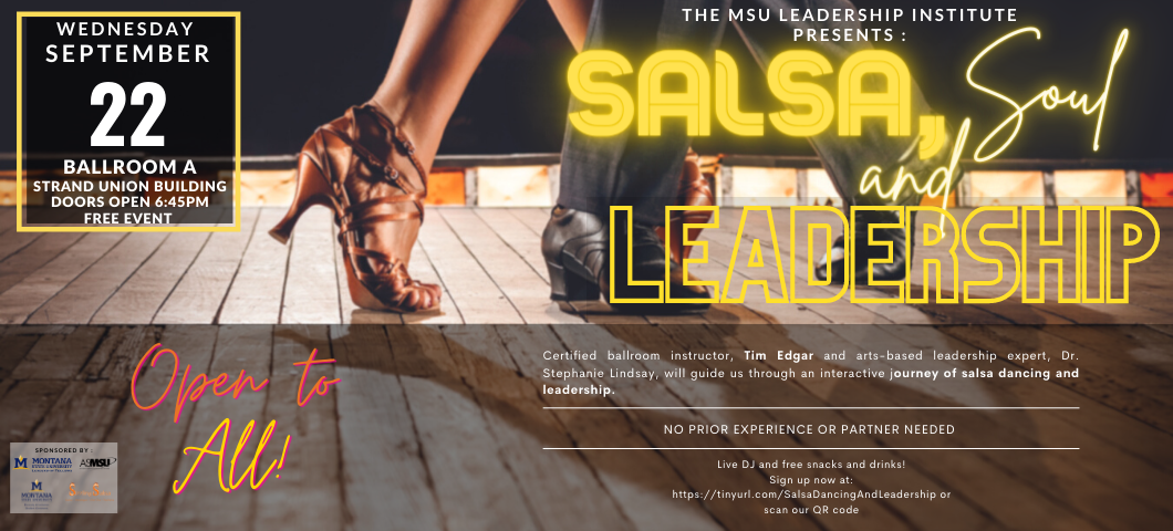 Learn how to salsa dance while improving your leadership and followership skills with Dr. Stephanie Lindsay and Ballroom Instructor Tim Edgar. September 22nd at 7:00 p.m., no prior experience needed.