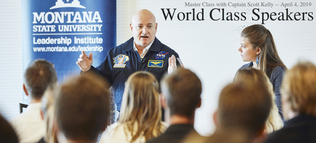 Master Class with Captain Scott Kelly -- April 4, 2019. The MSU Leadership Institute brings World Class Speakers to MSU students and community