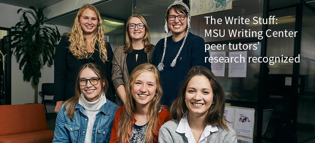 Photo of six peer tutors from MSU's Writing Center, one in a ski cap.