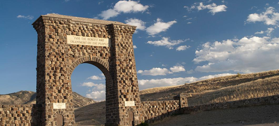 Yellowstone National Park stone entry gate