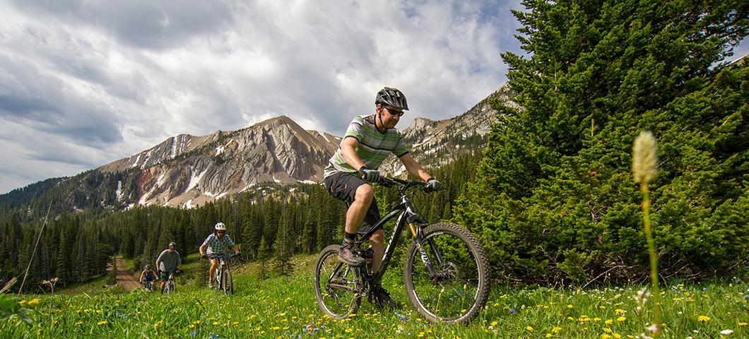 Three people mountain biking