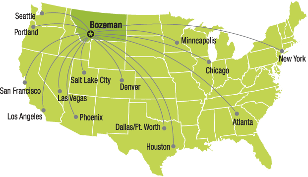 Map showing 15 direct flights out of Bozeman