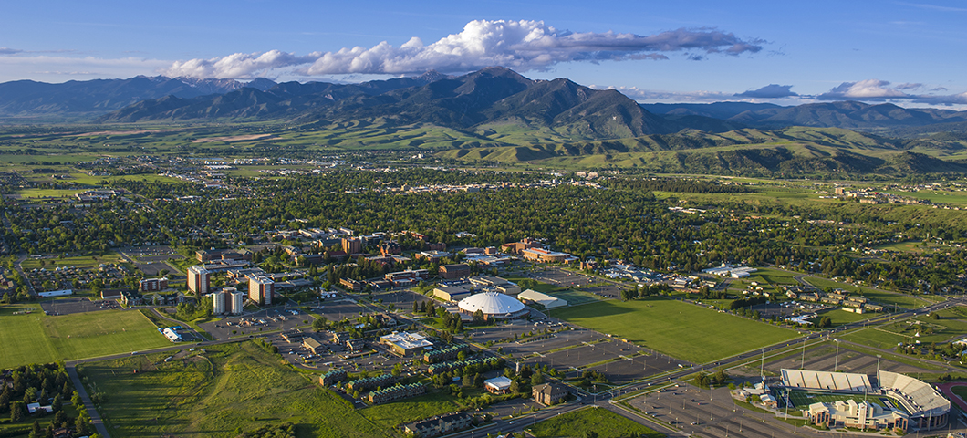 Aerial view of MSU and Bozeman