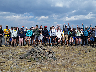 Group photo of students hiking