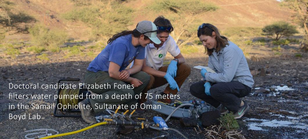 Doctoral candidate Elizabeth Fones filters water pumped from a depth of 75 meters in the Samail Ophiolite, Sultanate of Oman Boyd Lab