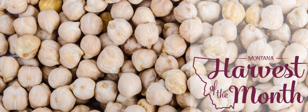 Photo of chickpeas with Harvest of the Month logo.