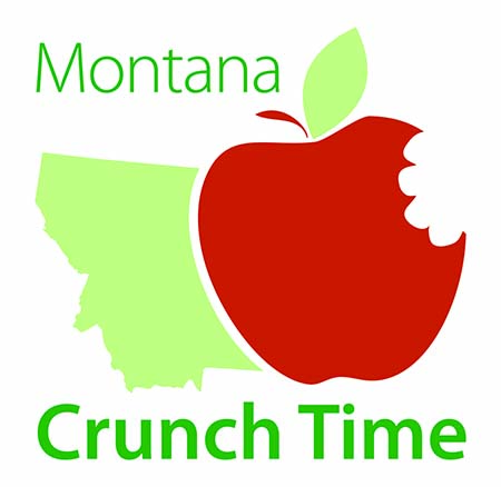 Montana Crunch Time logo - State of Montana with an appleMontana Crunch Time logo - State of Montana with an apple