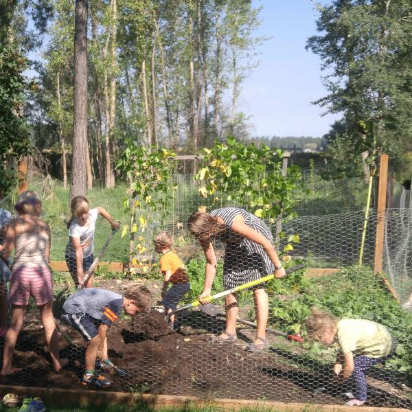 children and teacher gardening