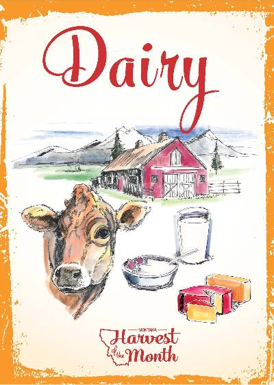 Dairy Poster showing cow, milk, yogurt, cheese, red barn and moutains.