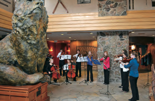 String players performing in lobby