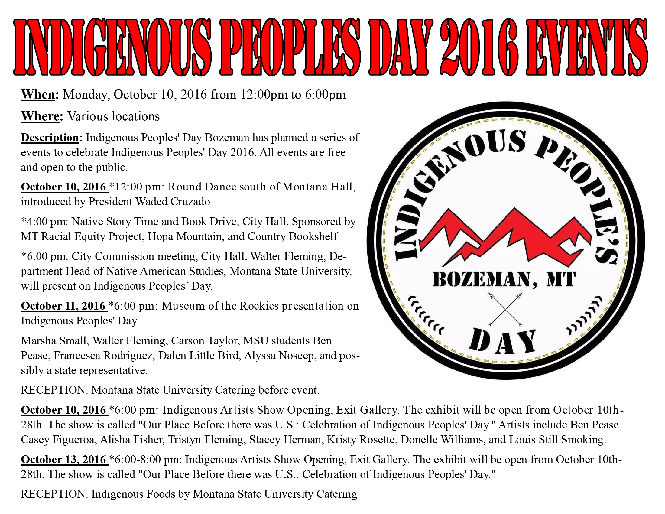 Indigenous Peoples Day 2016